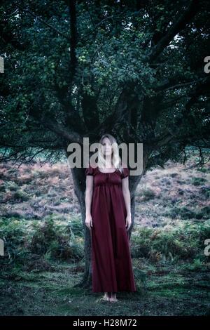 Una ragazza in un abito rosso è in piedi sotto un albero Immagini Stock