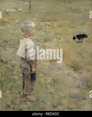 Ragazzo con una cornacchia, 1884. Presenti nella collezione di Ateneum, Helsinki. Immagini Stock