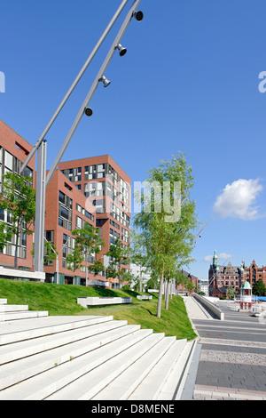 Architettura moderna, Osakaallee, HafenCity di Amburgo, Germania Immagini Stock
