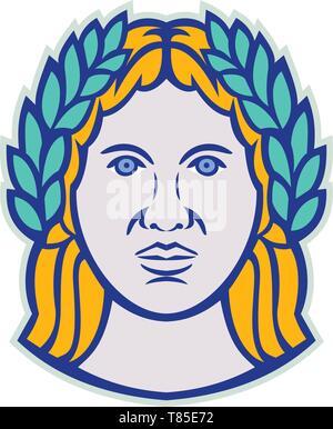 Icona di mascotte illustrazione della testa di Cerere, Romano agricola con una divinità di Demetra come dio greco equivalente che indossa una corona di alloro se visto dalla parte anteriore sul Immagini Stock