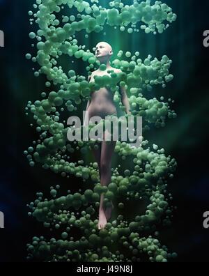 Il DNA e la genetica personale concetto 3D illustrazione Immagini Stock