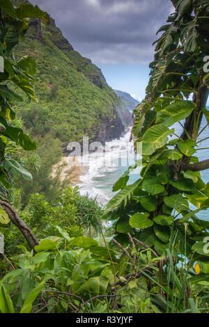 Hawaii, Kauai, Napali, Costa Napali parco statale, Oceano Pacifico Immagini Stock