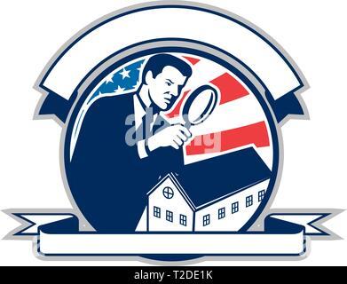 Icona di stile retrò illustrazione di un American home inspector con lente di ingrandimento e Stati Uniti d'America USA star lamas banner o stelle e s Immagini Stock