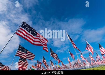 Un grande gruppo di bandierine americane. Veterani o memorial day display Immagini Stock