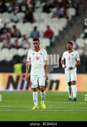Xv Gennaio 2019, Mohammed bin Zayed Stadium, Abu Dhabi Emirati arabi uniti; AFC Asian Cup Calcio, Palestina contro la Giordania; Ahmed Samir di Giordania Immagini Stock