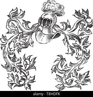 Ornamento con elementi calligrafico in stile barocco. Vintage medievale araldica. Fiorente decorazione per gli stemmi di un fantasy kingdom Immagini Stock