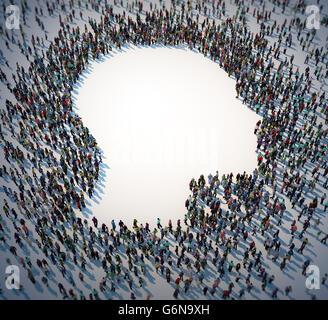 Un folto gruppo di persone formando un simbolo di testa - 3D illustrazione Immagini Stock