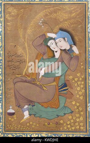 Gli amanti, da Riza-yi Abbasi, 1630, persiano, pittura acquerello opaco, inchiostro, oro su carta. Miniatura di Immagini Stock