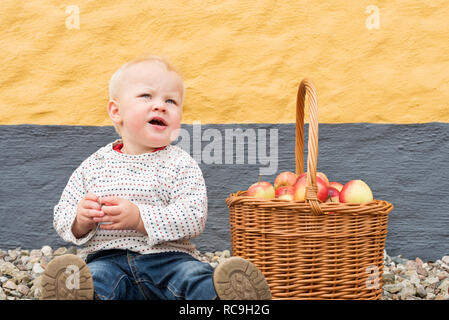 Piccolo Ragazzo con cesto di Apple Immagini Stock