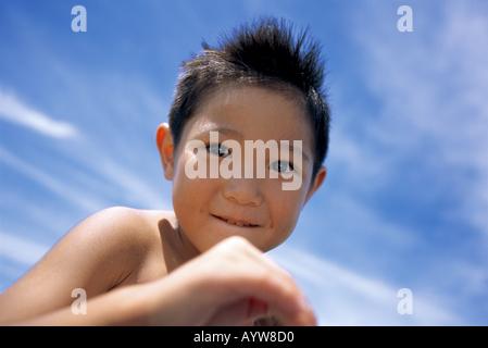 Close up di un ragazzo s volto Immagini Stock