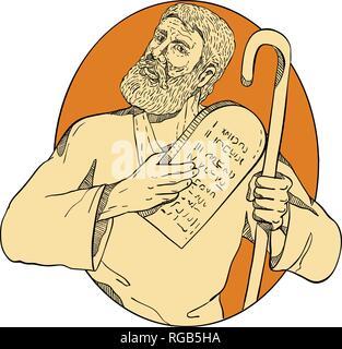 Schizzo di disegno illustrazione dello stile di Mosè, un profeta in religioni abramitiche. leader degli Israeliti e legislatore, con dieci comandamenti insieme all'interno Immagini Stock