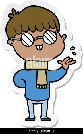 Adesivo di un cartoon ragazzo indossa occhiali Immagini Stock