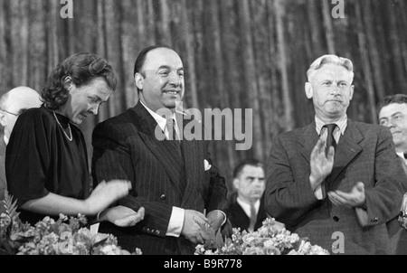 Pablo Neruda e Alexander Fadeyev Immagini Stock