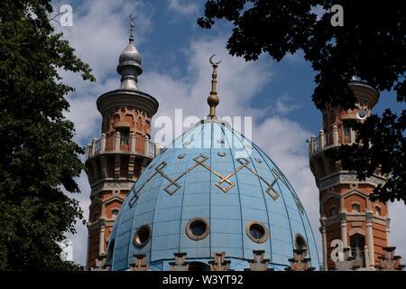 La cupola della moschea Mukhtarov in Vladikavkaz la città capitale della Repubblica del Nord Ossetia-Alania nel Nord Caucaso Distretto federale della Russia. Immagini Stock