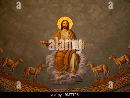 Gesù con le pecore affresco in San Matteo cattedrale costruita da architetti italiani, Stato di Khartoum, Khartoum, Sudan Immagini Stock