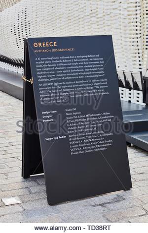 Segno di visualizzazione. London Design Biennale 2018, Londra, Regno Unito. Architetto: Vari , 2019. Immagini Stock