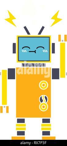 Schermo piatto a colori retrò cartoon di un robot malfunzionante Immagini Stock