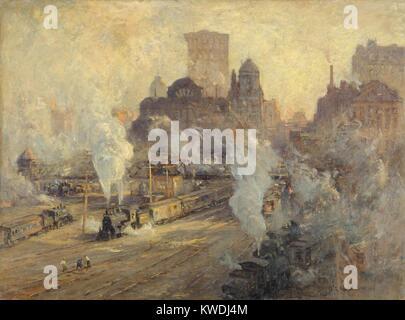 GRAND CENTRAL TERMINAL da Colin Campbell Cooper, 1909, la pittura americana, olio su tela. Il treno cantiere di Immagini Stock