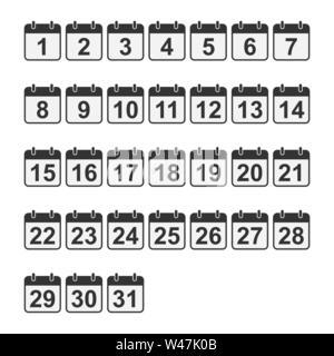 Set di numeri del calendario su una base quadrata. Design piatto per decorazione. Immagini Stock