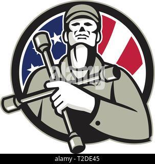 Illustrazione di un American gommista indossando hat holding chiave del pneumatico 4 vie della chiave a nasello o pneumatico di ferro sul petto cercando fino all'interno del cerchio con USA fla Immagini Stock