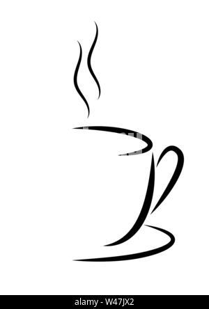 Abstract illustrazione vettoriale di una tazza di caffè o tè con vapore. Design piatto. Immagini Stock