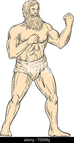 Schizzo di disegno illustrazione dello stile di Ercole, un eroe romano e Dio, con i pugni sul petto pronto a combattere in boxer boxing atteggiamento forte sulla isolato Immagini Stock