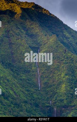 Hanalei Bay, Hawaii, Kauai, cascata Immagini Stock