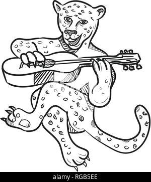 Lo stile del fumetto illustrazione di un felice leopard suonando una chitarra acustica mentre seduto fatto in bianco e nero isolato su sfondo bianco. Immagini Stock
