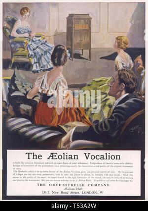Eolie grammofono VOCALION advert 1916 Immagini Stock