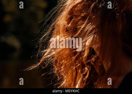 Vento capelli rossi della donna caucasica Immagini Stock
