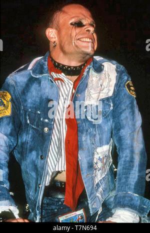 Il Prodigy UK del gruppo rock con Keith Flint all'U(& in concerto a Leeds in agosto 1997. Immagini Stock