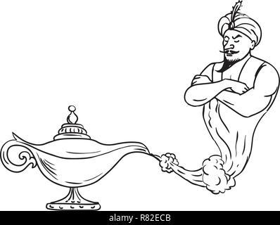 Schizzo di disegno illustrazione dello stile di un'Arabian genie proveniente da una vecchia lampada ad olio isolati su sfondo bianco fatto in bianco e nero. Immagini Stock