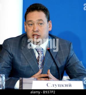 Leonid Slutsky ex Moskva club di calcio trainer indirizzamento di una conferenza stampa dopo la sua nomina come Immagini Stock