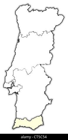 Cartina Politica Portogallo Con Regioni.Mappa Politica Del Portogallo Con Le Diverse Regioni Dove Algarve E Evidenziata Foto Stock Alamy