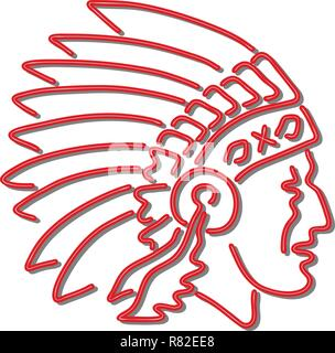 In stile retrò illustrazione mostrante una degli anni novanta insegna al neon luce di illuminazione di segnaletica di un nativo americano capo indiano di indossare copricapo visto dal lato su isol Immagini Stock