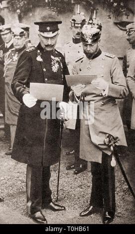 Re Giorgio V e Kaiser Wilhelm II discutendo di ordini di operazione, India, Asia Immagini Stock