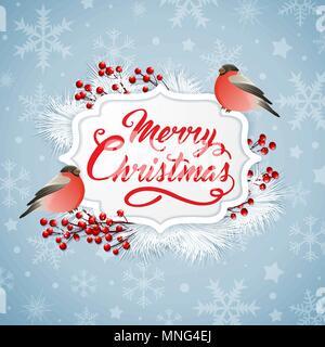 Vettore banner di Natale con due bullfinches e saluto l'iscrizione. Buon Natale scritte Immagini Stock