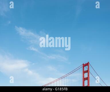 Vista parziale del Golden Gate Bridge di San Francisco, Stati Uniti d'America Immagini Stock