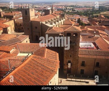 Tetti della città medievale di Caceres, Estremadura, Spagna Immagini Stock