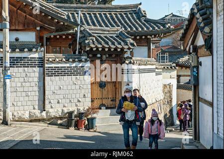 Il villaggio di Bukchon Hanok, Seoul, Corea del Sud Immagini Stock