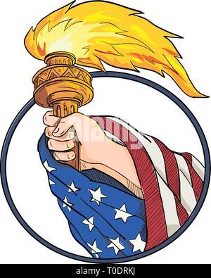 Disegno stile di disegno illustrativo di una mano che tiene una statua della Libertà torcia con American USA a stelle e strisce bandiera drappeggiato sul braccio imposta all'interno di forma ovale o Immagini Stock