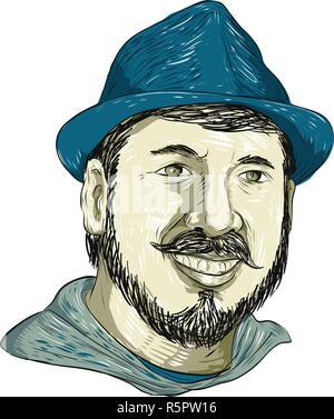 Disegno stile sketch illustrazione di un hipster o uomo con barba indossando un cappello Fedora sorridente guardando avanti isolato su sfondo bianco. Immagini Stock