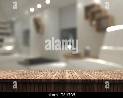 3D render di un tavolo di legno che guarda a un defocussed room interior Immagini Stock