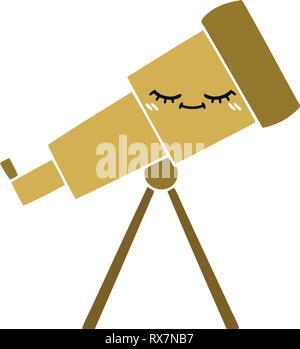 Schermo piatto a colori retrò cartoon di un telescopio Immagini Stock