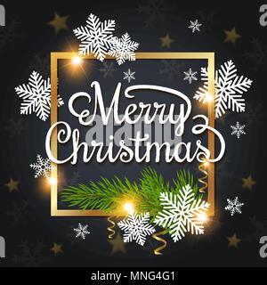 Vettore di auguri di Natale carta. Fiocchi di neve bianca e verde ramo fir in una cornice dorata su uno sfondo nero. Buon Natale scritte Immagini Stock