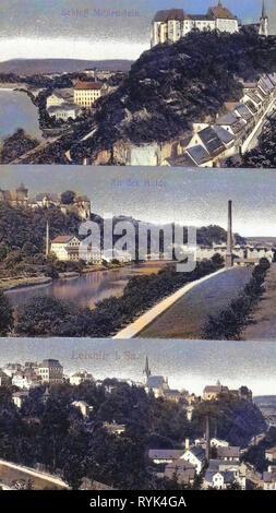 Cartoline Multiview, viste di Leisnig, 1915, Landkreis Mittelsachsen, Leisnig, verschiedene Stadtansichten, Germania Immagini Stock
