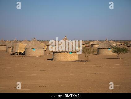 Case in cemento con tetti tchatched, Stato di Kassala, Kassala, Sudan Immagini Stock