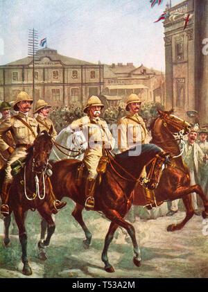 FREDERICK ROBERTS, primo Earl Roberts (1832-1914) sfilate attraverso Kimberley dopo il rilievo della città assediata nel febbraio 1900 Immagini Stock