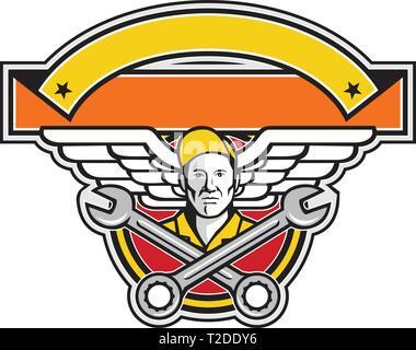 Icona di stile retrò illustrazione di un capo equipaggio o meccanico aeronautico con attraversata chiave o chiave e aviatore esercito o ali impostato all'interno del cerchio con divieto Immagini Stock
