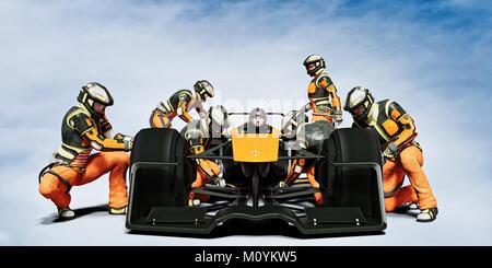 Il futuristico pit crew manutenzione race car Immagini Stock